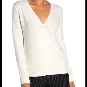 NWT Vince Camuto Ivory White Faux Wrap Sweater